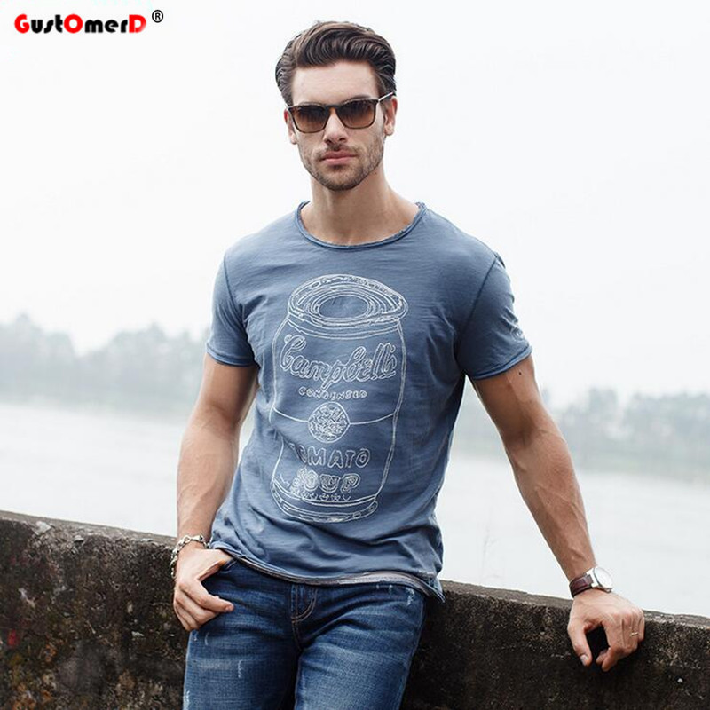 GustOmerD Mærke T-shirt Fashion Ny Pure Bomuld T-shirt Mænds O-Neck Kortærmet T-shirts Mænds Trend Toppe Casual T-shirt S-XXL