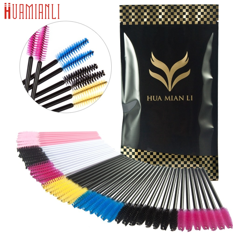 Best Deal 200PCS Colourful Make Up Brush Synthetic Fiber One Off Disposable Eyelash Brush Beauty Cosmetic