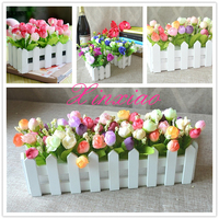 1 set fence vase + flowers rose and Daisy artificial flower set silk flowers home decoration Birthday Gift