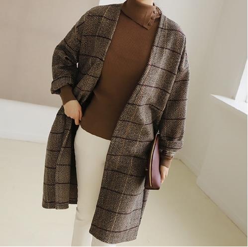 UK Women Woolen Coat Autumn Winter Cassic Simple Long Plaid Cardigan Coat Trenchcoat Wool Coat All Match Vintage Plus Size LM47