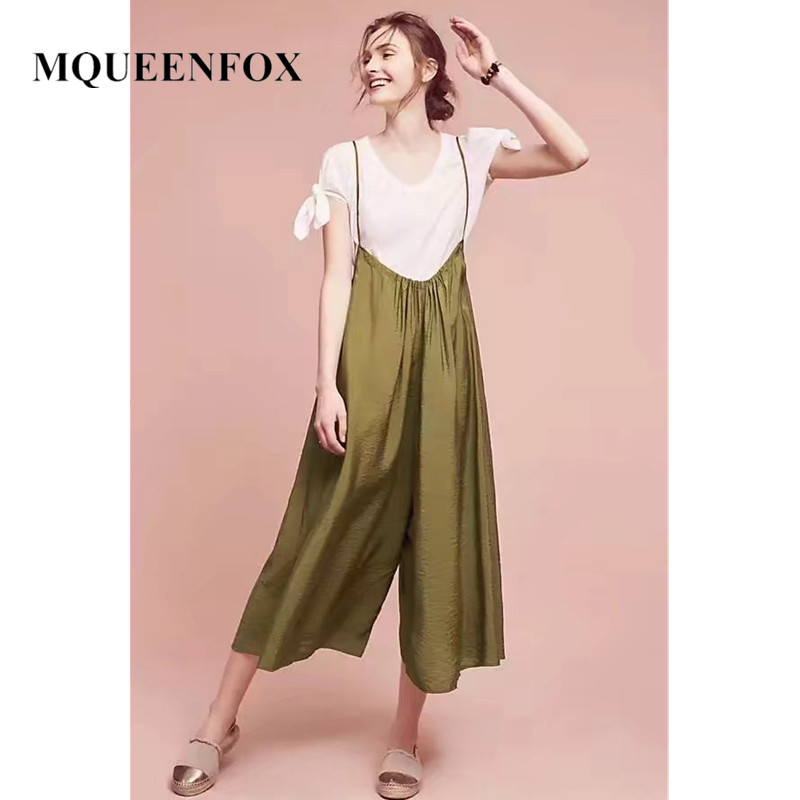 Rompers Strap Long Trousers Dungarees Wide Leg Women Pants Cotton Linen Womens Pants Plus Size