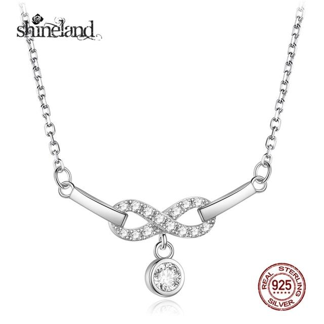 Shineland Romantic Infinity Symbol Pendant Necklace 925 Sterling