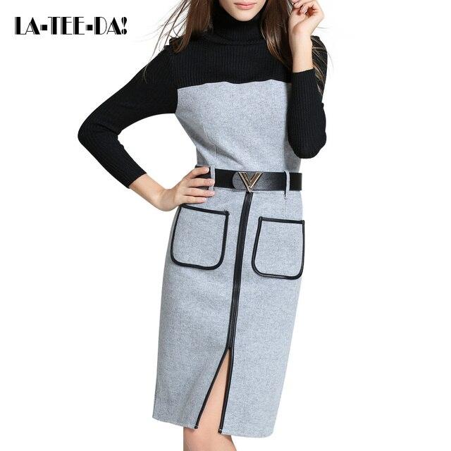 10 elyq Knitted Dress Women Woolen Dress Lady Fashion Elegant Color Contrast Package Hip PU Patch Female Vestidos LTD70022