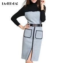 LA-TEE-DA! 10 2017 вязаное платье Для женщин шерстяное платье Леди Мода Элегантный Цвет контраст Вышивка Крестом Пакет бедра ПУ Лоскутные женские Vestidos