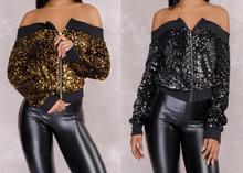 New 2018 Women Ladies Sequins Long Sleeve Off the Shoulder Coat Zipper Jacket Sweatshirt Jumper Pullover