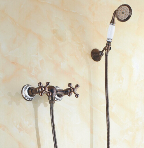 Dual Handle Antique Retro Brass Wall Mounted Shower Set Porcelain Handshower Bathroom Shower Mixer Taps SF1021