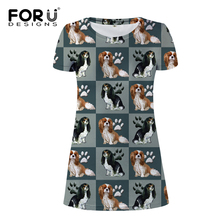 FORUDESIGNS Women Cartoon Cavalier King Print Mini Dress Ladies Kawaii Puppy Pattern Females Fashion Party Wear for Travel