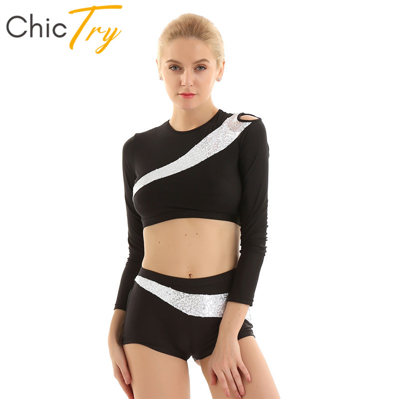 ChicTry Women Shiny Sequins Team Competition Rave Dance Costume Long Sleeves Gymnastics Crop Tops Shorts Set Fitness Dancewear