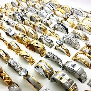 Image 4 - Ensemble de 30 bagues unisexes pour femmes et hommes, grands strass et zircon, plaqué or et argent, acier inoxydable, fiançailles, bijoux de mariage, vente en gros