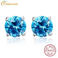 Round 5 9ct Blue Topaz Stud Earrings Solid 925 Sterling Silver 2016 New Fine Jewelry For
