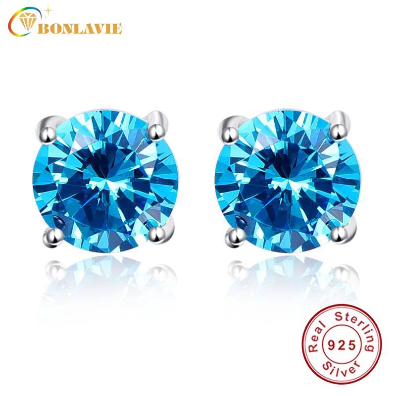 BONLAVIE Luxury Topaz Earrings Wholesale 925 Sterling Silver Stud Earrings Round 5.9ct Blue Topaz Stud Earring for Women Wedding