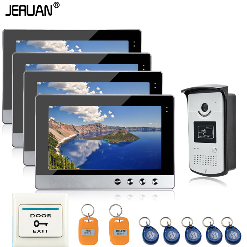 JERUAN NEW 10 inch color Video Door Phone Intercom system RFID Access System 4 Monitors + 1 IR Night Camera waterproof new 7 inch color video door phone intercom system 2 monitors rfid access door bell camera 250mm long strike lock free shipping