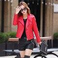 Otoño nueva moto chaquetas mujer delgada cremallera remache epaulet parka Bomber Jacket Women Pure Color Negro Rojo Gris Azul Básico abrigos