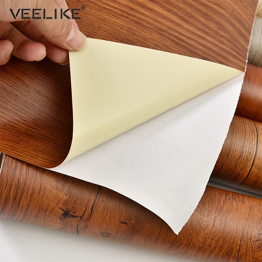 PVC Vinyl Self Adhesive Wood Grain Wallpaper DIY Decorative Film Kitchen Cabinet Wardrobe Waterproof Furniture Renovation Decals