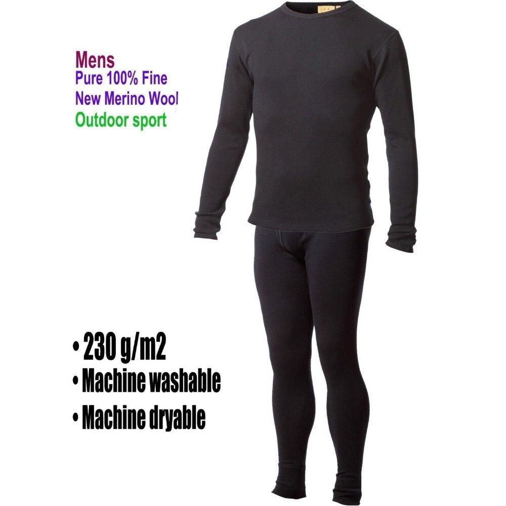 Hommes homme 100% Pure laine mérinos hiver couche de Base thermique chaud chandail sous-vêtements respirant mi-poids hauts pantalon bas ensemble