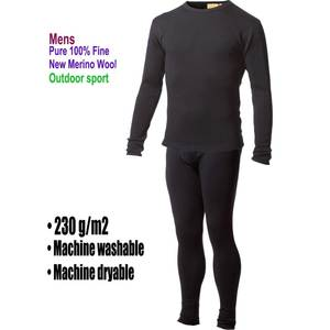 Pants Underwear Base-Layer Merino-Wool Thermal Warm Sweater Bottom-Set Mid-Weight-Tops