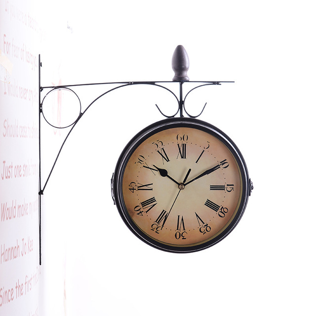 TUDA Iron Mute Wall Clock Home Crafts European-style Needle Wall Clock Vintage Round Double Side Wall Clock