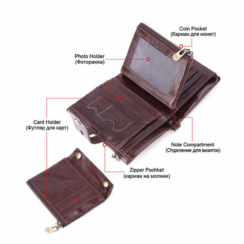 RFID 100% prawdziwej skóry portfel męski monety kiesy małe mini etui na karty łańcuch PORTFOLIO Portomonee mężczyzna kieszeń Walet