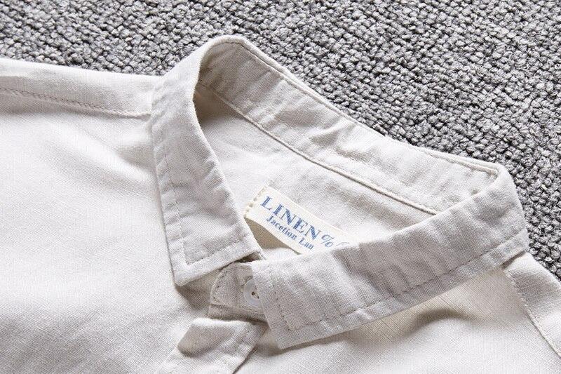 Neue Art Cotton + Linen Shirt Men Slim Fit Langarm Herrenhemd Leinen - Herrenbekleidung - Foto 3
