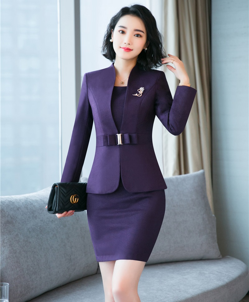 2018 New Fashion Autumn Winter Formal Blazers Suits With Two Piece Jackets And Dress For Women Business Work Wear Sets OL Styles