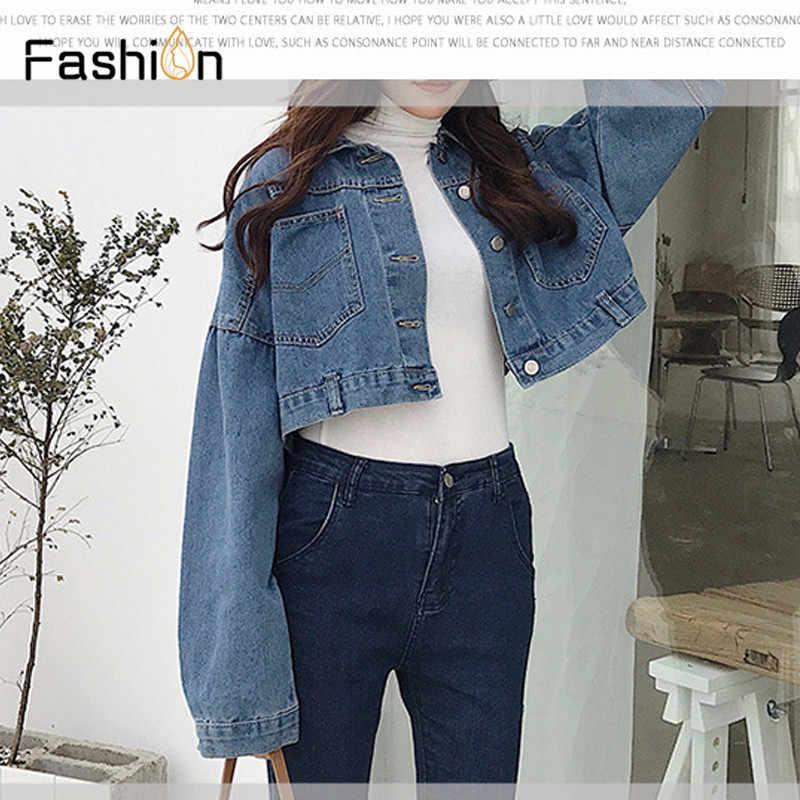 1fbd3be26838 2019 Женская Базовая короткая джинсовая куртка пальто для девочек джинсовые  куртки ...