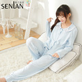 New Pink/Light Blue Women's Spring Pajama Sweet Cotton Long Sleeve Pajama Set with Bow Free Shipping