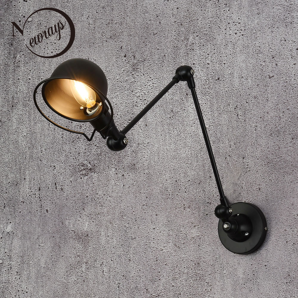 Loft Vintage industrial jielde long Arm adjustable Wall Lamp Reminisce Retractable E14 LED wall lights for bedroom living room nordic loft creative loft milan industrial style modern bedroom study long arm living room villa copper bronze wall sconce lamp