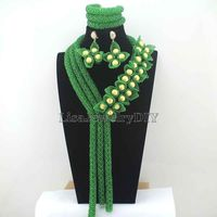 Wonderful Green African Costume Jewelry Sets 2016 New Nigerian Wedding Beads Bridal Necklaces Earrings Free Shipping HD8082