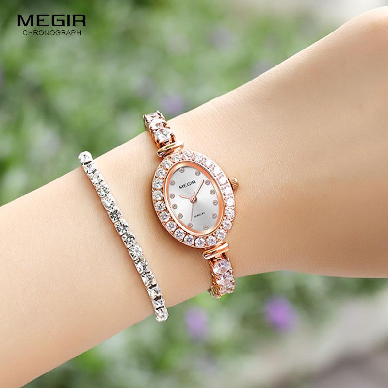 Megir Women s Simple Dress Quartz Watches Luxury Metal Blracelet Diamond Wristwatch for Lady Relogios Femininos