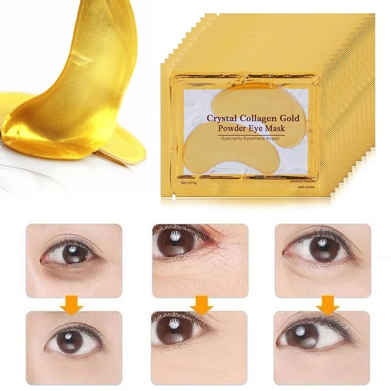 20pcs=10packs Gold Masks Crystal Collagen Eye Mask Eye Patches For The Eye Anti-Wrinkle Anti Aging Remove Dark Circles Eye Care(China)