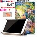 Для Huawei MediaPad M3 BTV-W09 BTV-DL09 8.4 дюймов Откидная Крышка Красочные Окрашенные PU Кожаный Чехол Защитные Голени Shell + подарок