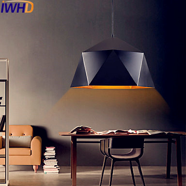 IWHD Iron Diamond LED Pendant Lights Fixtures Dining Room Loft Retro Vintage Pendant Light Lamp Luminaire Lamparas Colgantes iwhd gold iron style loft industrial vintage pendant lights retro birdcage hanging lamp kitchen dining room luminaire suspendu