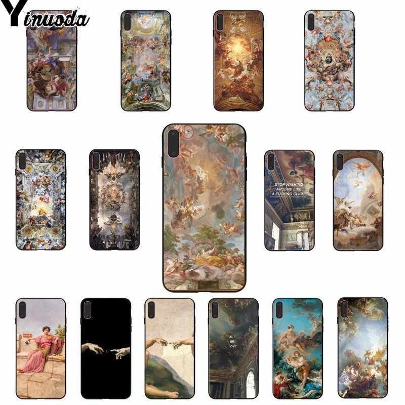 Yinuoda palace of versailles The Creation of Adam Art Black TPU Phone Case for iPhone X XS MAX  6 6s 7 7plus 8 8Plus 5 5S SE XR