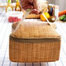 Portable Insulated Thermal Cooler Lunch Box Canvas Imitation Rattan Bag Picnic Container Material Food