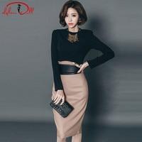 2018 Autumn Brief Solid Two Piece Sets OL Office Suit Dress Women Knee-Length Midi Pencil Skirt Bodycon Belt Work Vestidos