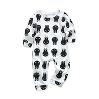 Fashion Baby Boy Romper Black White Long Sleeve Pullvoer Jumpsuit Cartoon Bunny Printed Baby Boy Jumpsuit Cotton Infant Clothes