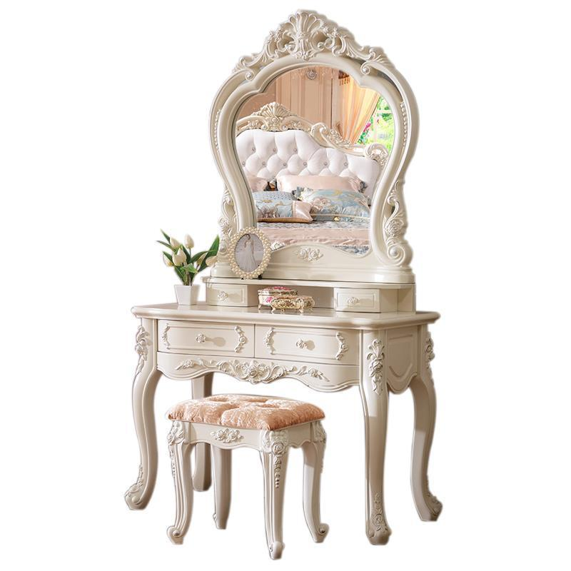 Da Letto Set Makeup Box Coiffeuse Avec Miroir Tocador European Wood Penteadeira Bedroom Furniture Korean Quarto Dressing Table wooden dressing table makeup desk with stool oval rotation mirror 5 drawers white bedroom furniture dropshipping