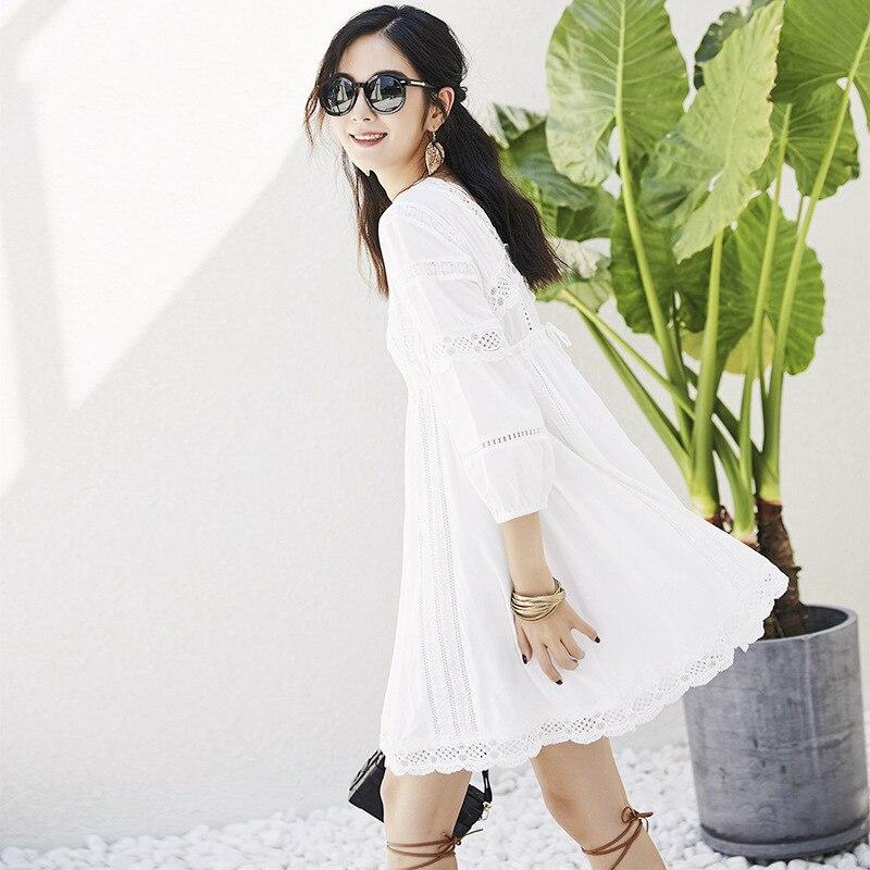 Robe Mini Occasionnel D'été Printemps Évider Coton Sexy Filles V Vacances Blanc Dentelle Cou Femmes Lâche Uniquewho Pour wqazxtIBx