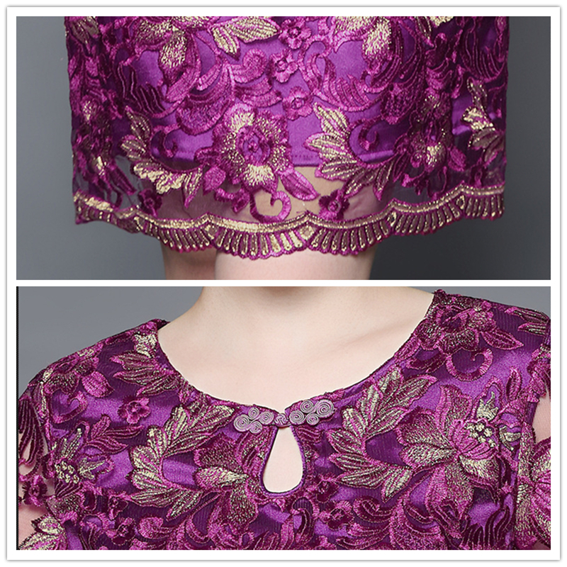 Vintage Contrasto Estate Ricamo Aderente Purple Fiore Plus Size Donne Feste Vestito Elegante Manica Corta Abiti rddfwYq
