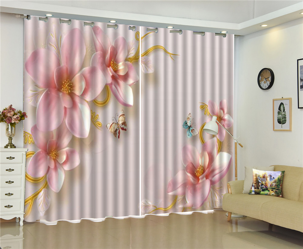 Curtain Diagonal Delicate Flowers And Butterflies European Modern Exquisite Interior Curtains