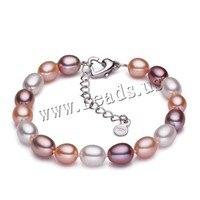 White Pink Purple Color Natural Freshwater Pearl Strand Bracelets For Women Summer Bohemia Oval Pearl Bracelets