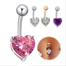 Fashion Love Heart belly button rings Bar Gold / Silver Plated Surgical Piercing Sexy Body Jewelry for women CZ navel piercing(China)