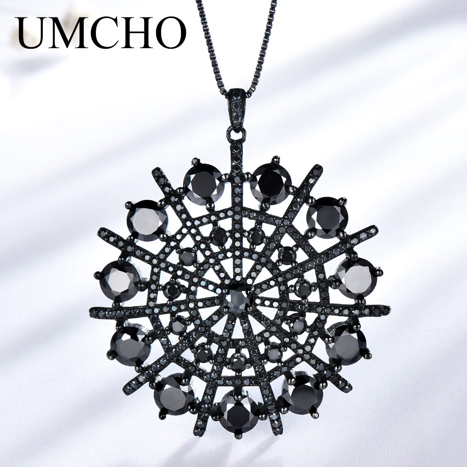 UMCHO Genuine 925 Sterling Silver Jewelry Natural Gemstone Black Spinel Necklaces Pendants Party Hyperbole Gifts For