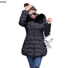 Parkas mujer 2018 winter new feather cotton female slim long plus size thickening large collar coat women