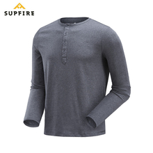 Supfire T Shirt Male Sports Fitness Gym Tshirt Henry Collar Running Fishing Hiking Quick Dry Long Sleeve Breathable Shirt C027 nextour summer male quick dry contrast color t shirt outdoor tees long sleeve sport breathable soft fabric hiking trekking