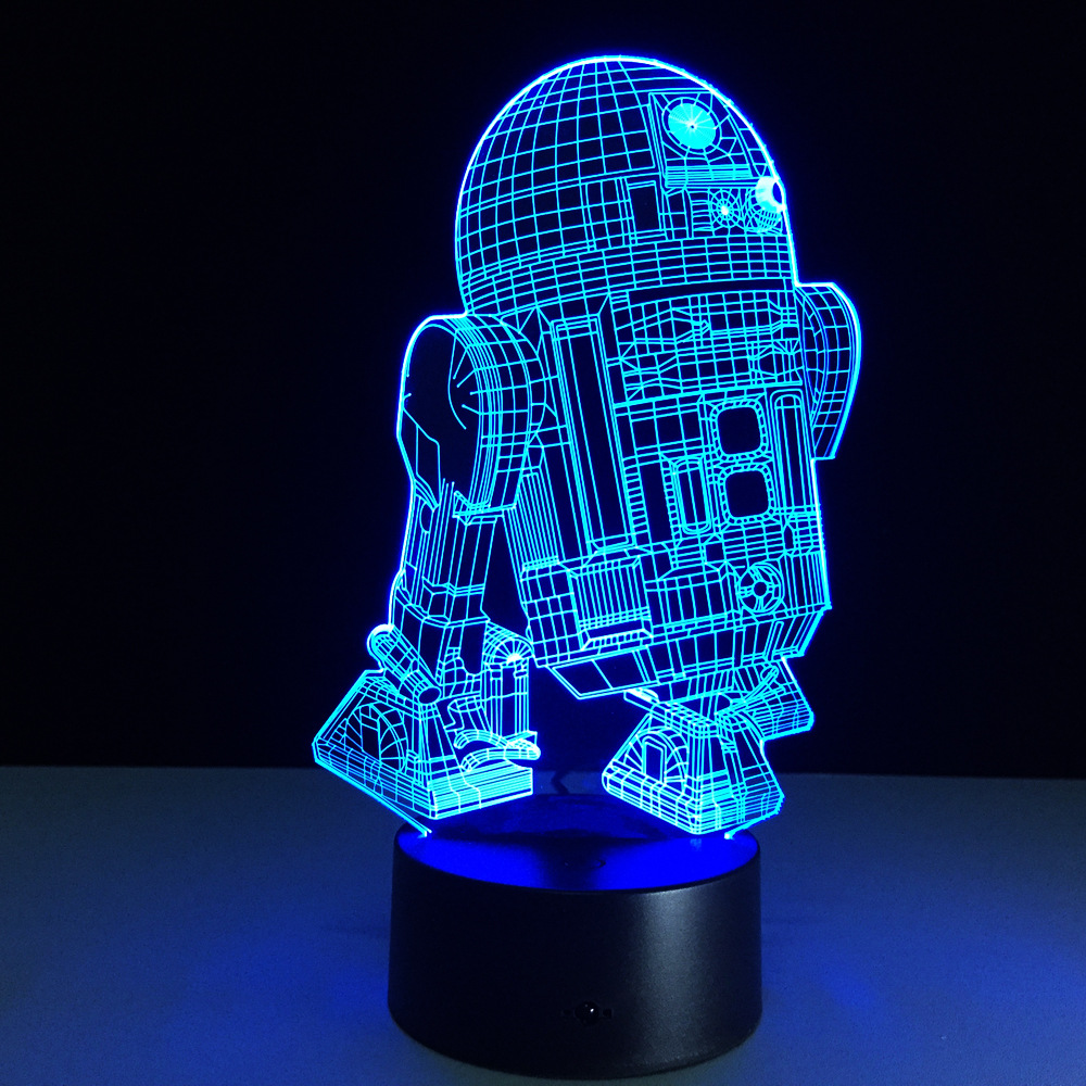 Star Wars R2D2 Figure 3D Led Night Light Lamp Star Wars Colorful USB ...