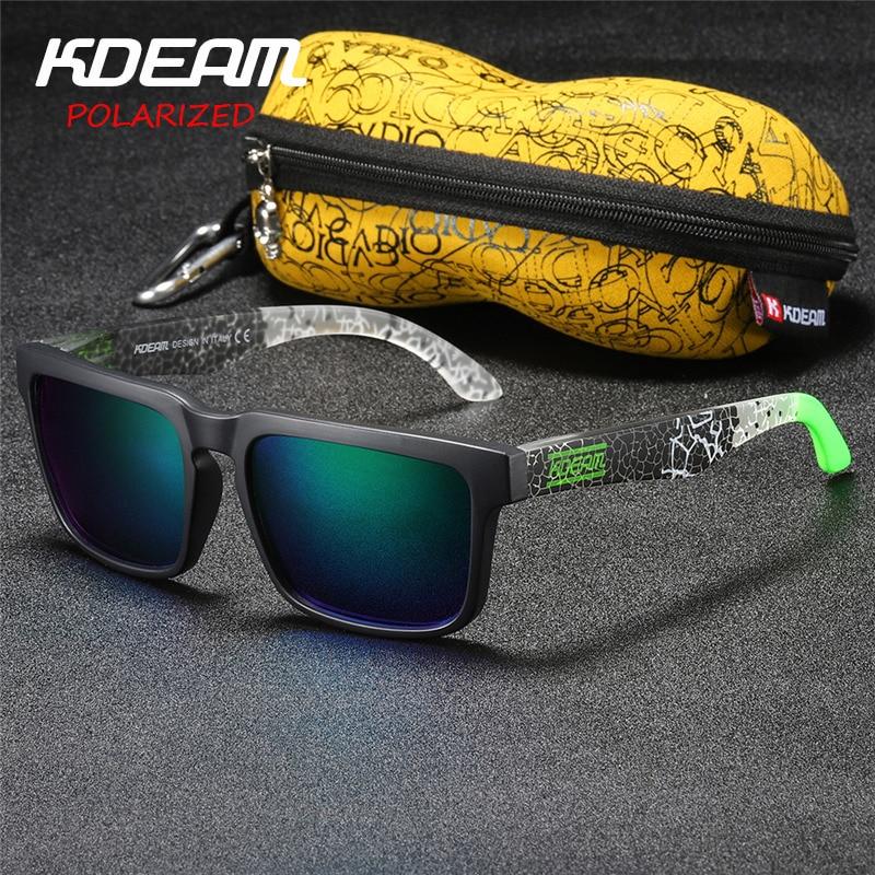 Kdeam Polarized Summer Sunglasses Men Reflective Coating Square Sun Glasses Women Brand Design Mirrored Oculos De Sol With Case