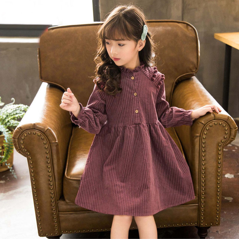 4 <font><b>5</b></font> 6 7 8 10 12 Years New Children Girls Korean Spring Long Sleeve A-Line Princess Dress Clothes For Girls England Style Dresses image