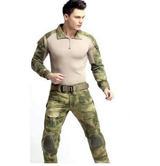Hot sale Tactical Combat Uniform with Shirt  + Pants and Knee + Elbow Pads Military Army Uniform Hunting Suit military uniform multicam army combat shirt uniform tactical pants with knee pads camouflage suit hunting clothes