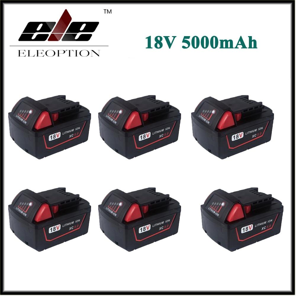 6x Eleoption 5000mAh 18V Li Ion Replacement Power Tool